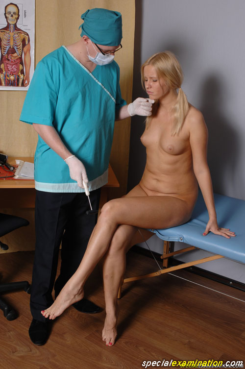 Medical fetish neuro testing of a helpless nude babe